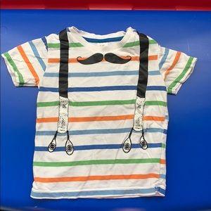 Mustache and suspender print tee